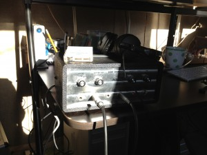Trusty, quirky tape echo unit basking in the sun at Ben Hampson's mix room